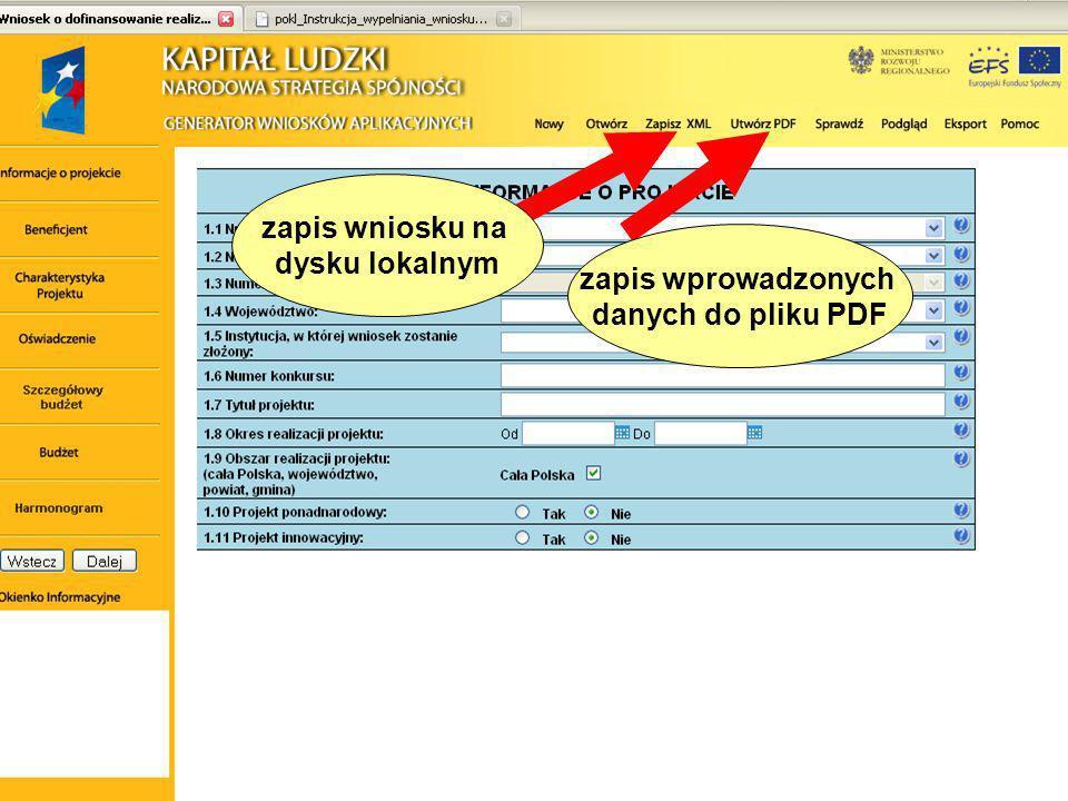 zapis wprowadzonych danych do pliku PDF zapis wniosku na dysku lokalnym