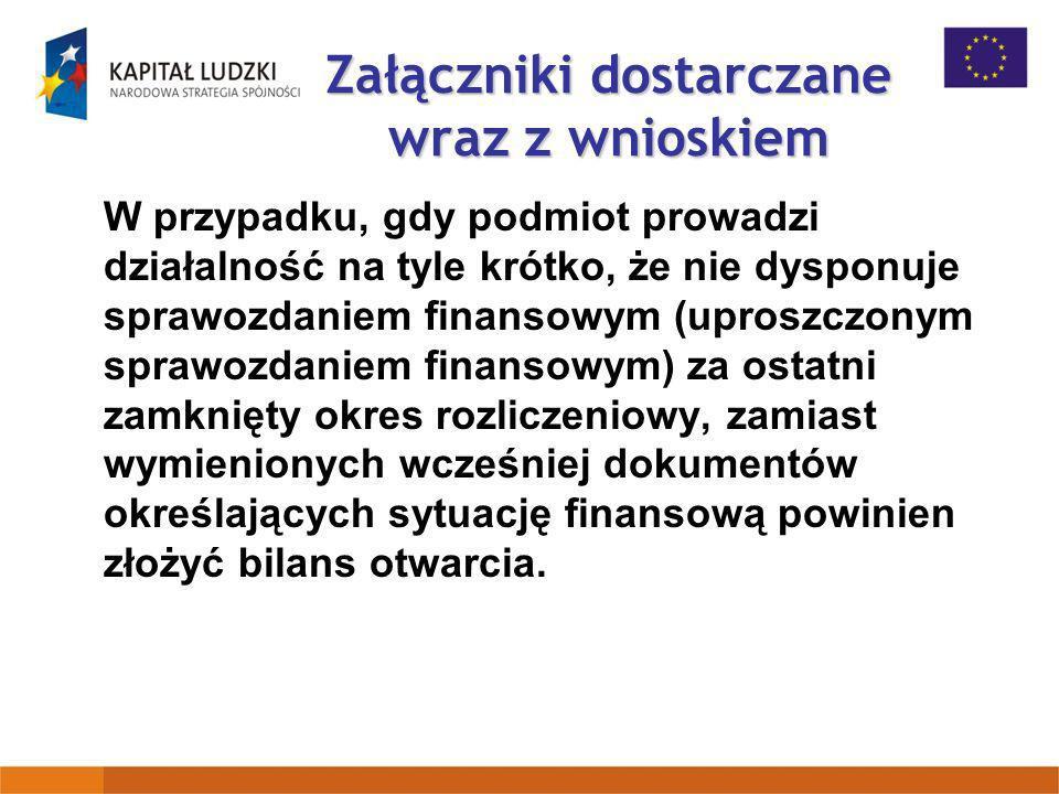 Załączniki dostarczane wraz z wnioskiem W przypadku, gdy podmiot prowadzi działalność na tyle krótko, że nie dysponuje sprawozdaniem finansowym (upros