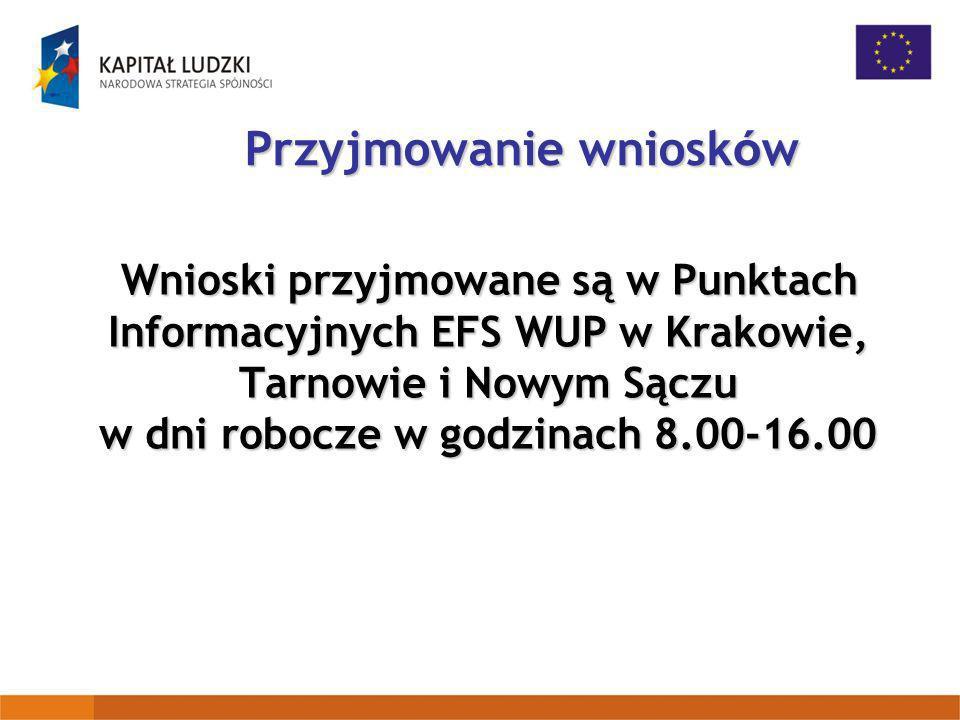 Przyjmowanie wniosk ó w Wnioski przyjmowane są w Punktach Informacyjnych EFS WUP w Krakowie, Tarnowie i Nowym Sączu w dni robocze w godzinach 8.00-16.