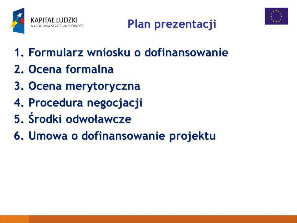 Plan prezentacji 1.Formularz wniosku o dofinansowanie 2.Ocena formalna 3.Ocena merytoryczna 4.Procedura negocjacji 5.Środki odwoławcze 6.Umowa o dofin