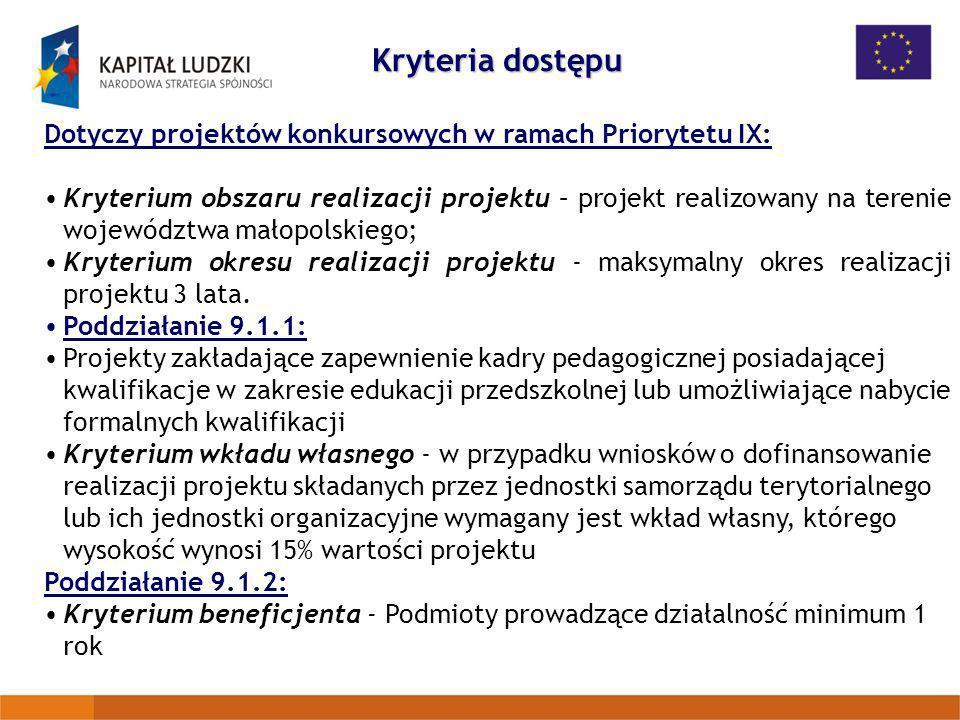 Kryteria dostępu Dotyczy projektów konkursowych w ramach Priorytetu IX: Kryterium obszaru realizacji projektu – projekt realizowany na terenie wojewód