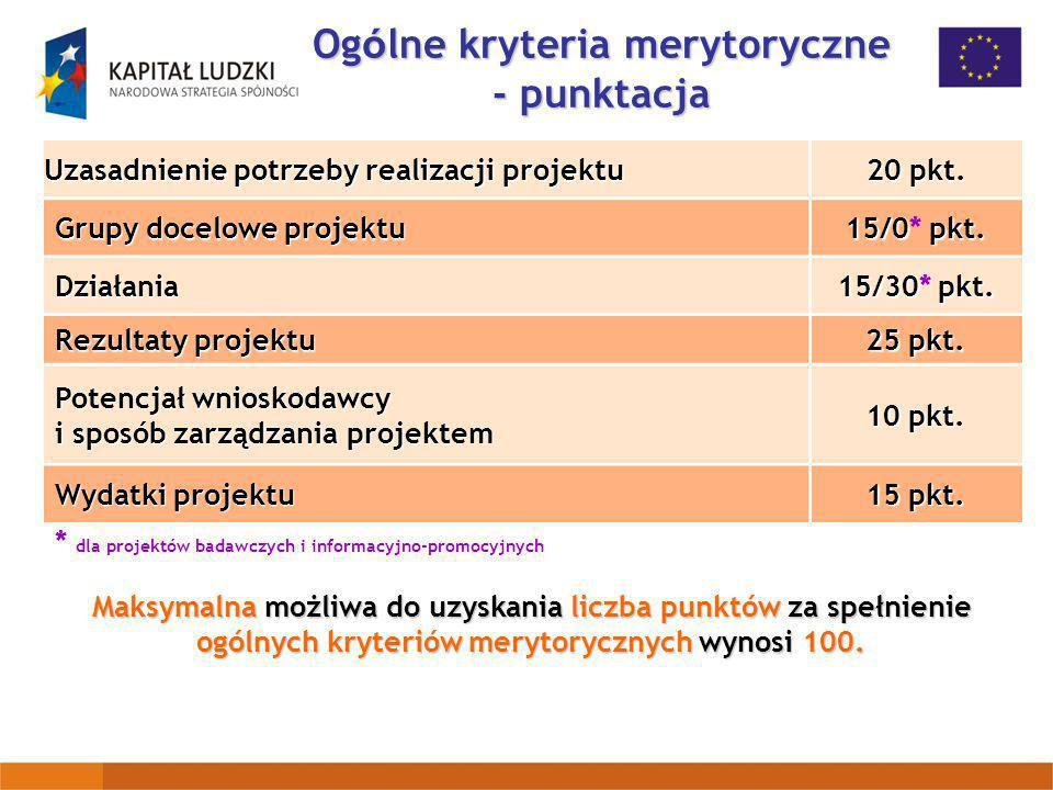 Og ó lne kryteria merytoryczne - punktacja Uzasadnienie potrzeby realizacji projektu 20 pkt. Grupy docelowe projektu 15/0 pkt. 15/0* pkt. Działania 15