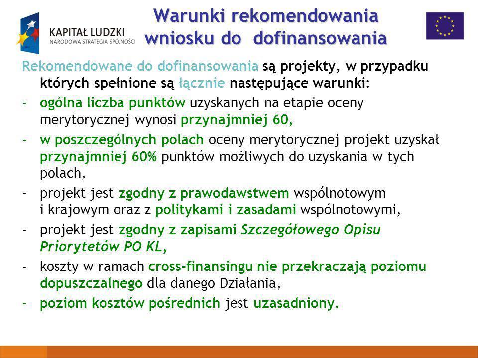 Warunki rekomendowania wniosku do dofinansowania Rekomendowane do dofinansowania są projekty, w przypadku których spełnione są łącznie następujące war