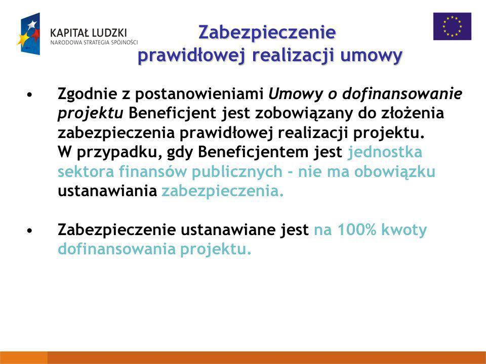 Zgodnie z postanowieniami Umowy o dofinansowanie projektu Beneficjent jest zobowiązany do złożenia zabezpieczenia prawidłowej realizacji projektu. W p