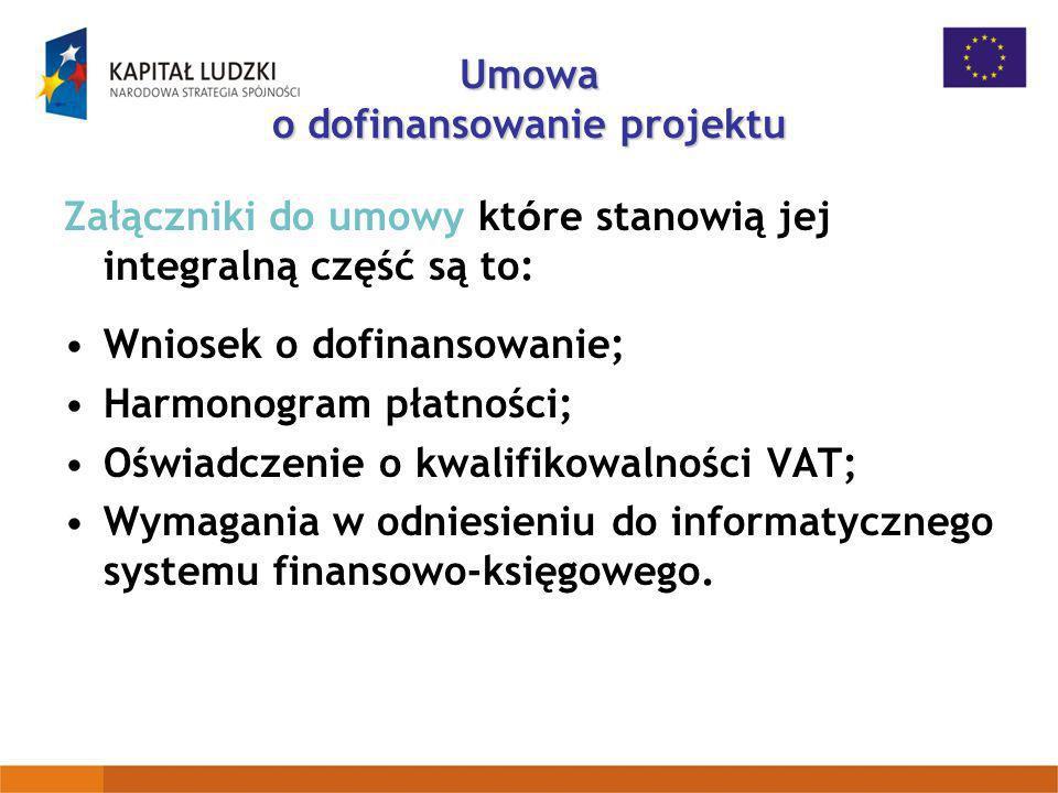 Załączniki do umowy kt ó re stanowią jej integralną część są to: Wniosek o dofinansowanie; Harmonogram płatności; Oświadczenie o kwalifikowalności VAT