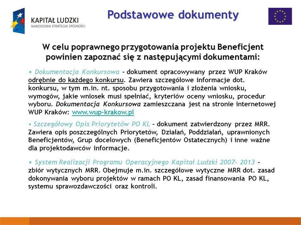 W celu poprawnego przygotowania projektu Beneficjent powinien zapoznać się z następującymi dokumentami: Dokumentacja Konkursowa – dokument opracowywan