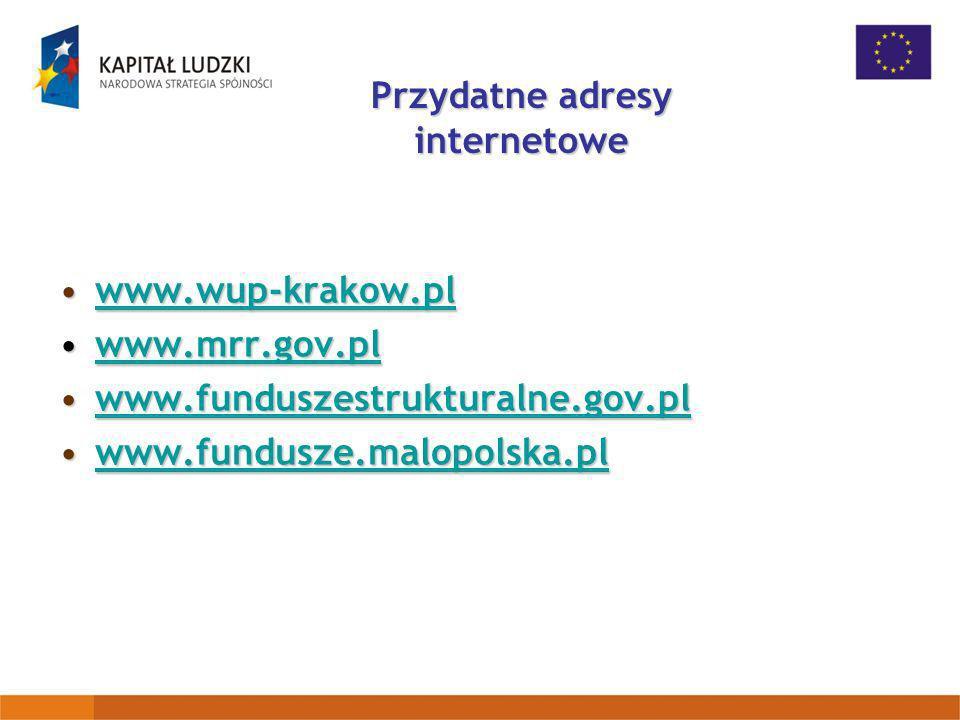 Przydatne adresy internetowe www.wup-krakow.plwww.wup-krakow.plwww.wup-krakow.pl www.mrr.gov.plwww.mrr.gov.plwww.mrr.gov.pl www.funduszestrukturalne.g