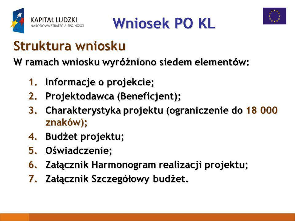 Wniosek PO KL Struktura wniosku W ramach wniosku wyr ó żniono siedem element ó w: 1.Informacje o projekcie; 2.Projektodawca (Beneficjent); 3.Charakter