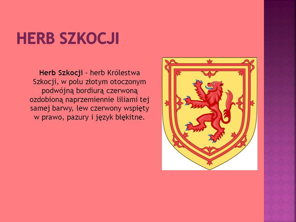 Herb Szkocji – herb Królestwa Szkocji, w polu złotym otoczonym podwójną bordiurą czerwoną ozdobioną naprzemiennie liliami tej samej barwy, lew czerwon