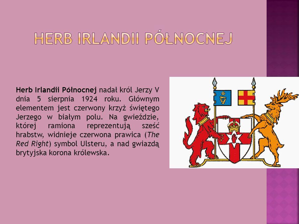 Herb Irlandii Północnej nadał król Jerzy V dnia 5 sierpnia 1924 roku. Głównym elementem jest czerwony krzyż świętego Jerzego w białym polu. Na gwieźdz