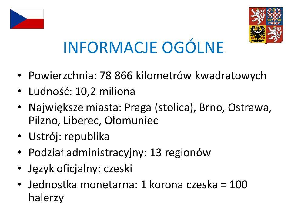 INFORMACJE OGÓLNE Powierzchnia: 78 866 kilometrów kwadratowych Ludność: 10,2 miliona Największe miasta: Praga (stolica), Brno, Ostrawa, Pilzno, Libere
