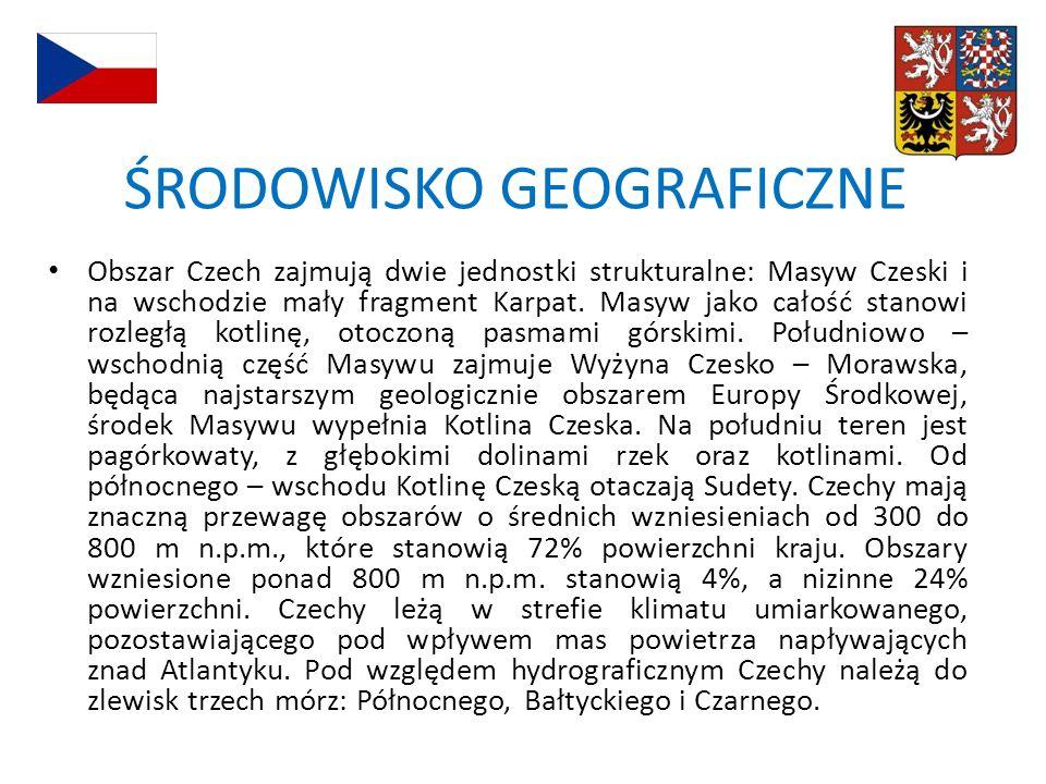 Obszar Czech zajmują dwie jednostki strukturalne: Masyw Czeski i na wschodzie mały fragment Karpat. Masyw jako całość stanowi rozległą kotlinę, otoczo