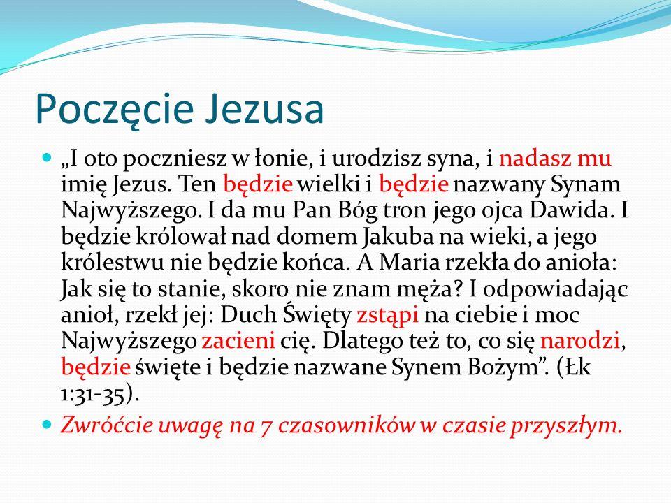 Poczęcie Jezusa I oto poczniesz w łonie, i urodzisz syna, i nadasz mu imię Jezus. Ten będzie wielki i będzie nazwany Synam Najwyższego. I da mu Pan Bó
