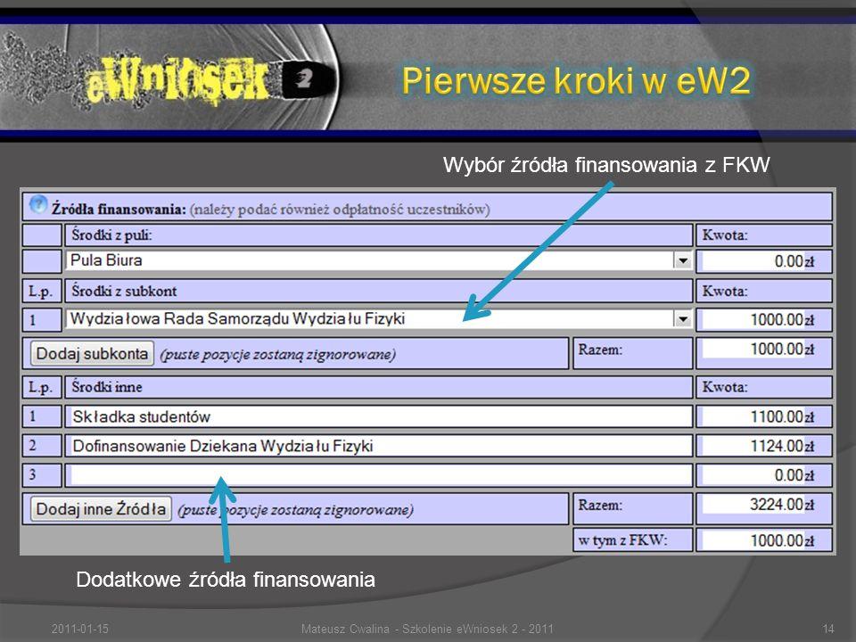 Dodatkowe źródła finansowania Wybór źródła finansowania z FKW 2011-01-1514Mateusz Cwalina - Szkolenie eWniosek 2 - 2011