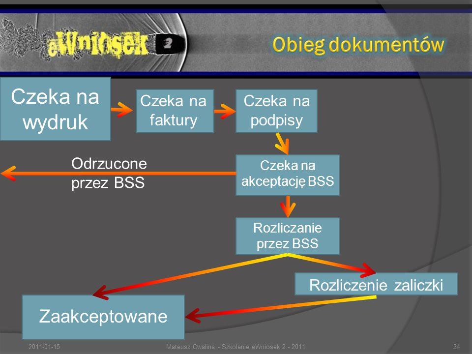 Czeka na podpisy Rozliczanie przez BSS Czeka na akceptację BSS Czeka na wydruk Zaakceptowane Czeka na faktury Odrzucone przez BSS Rozliczenie zaliczki 2011-01-1534Mateusz Cwalina - Szkolenie eWniosek 2 - 2011