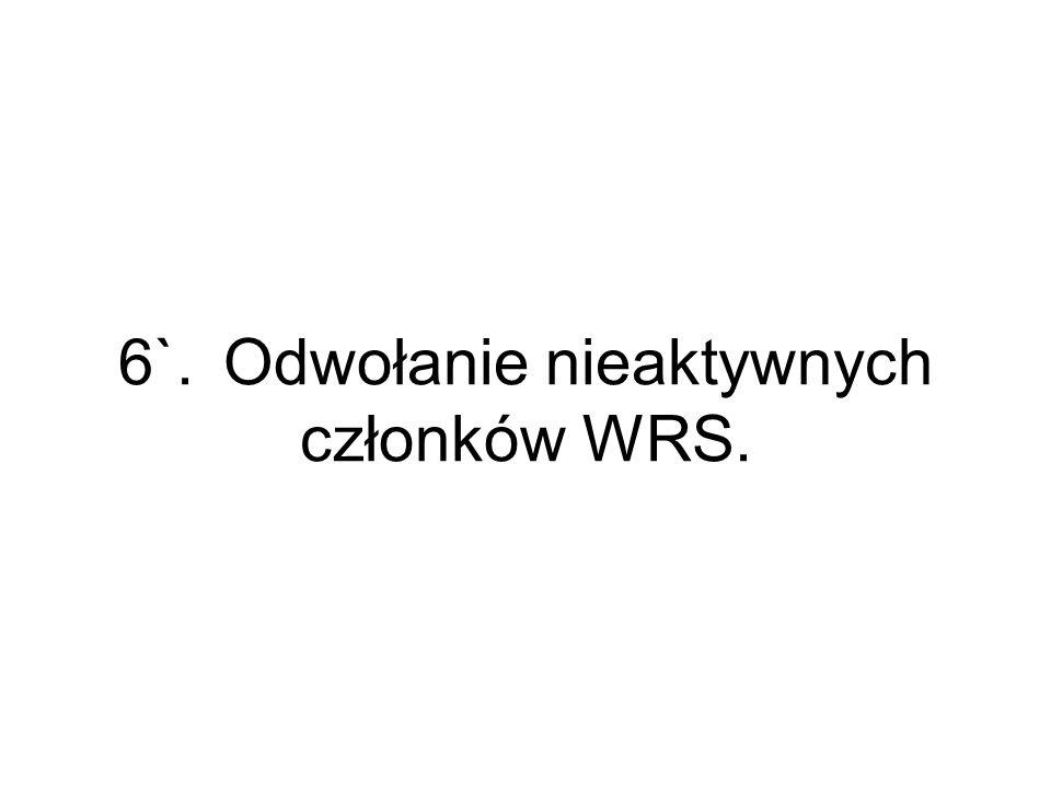6`.Odwołanie nieaktywnych członków WRS.