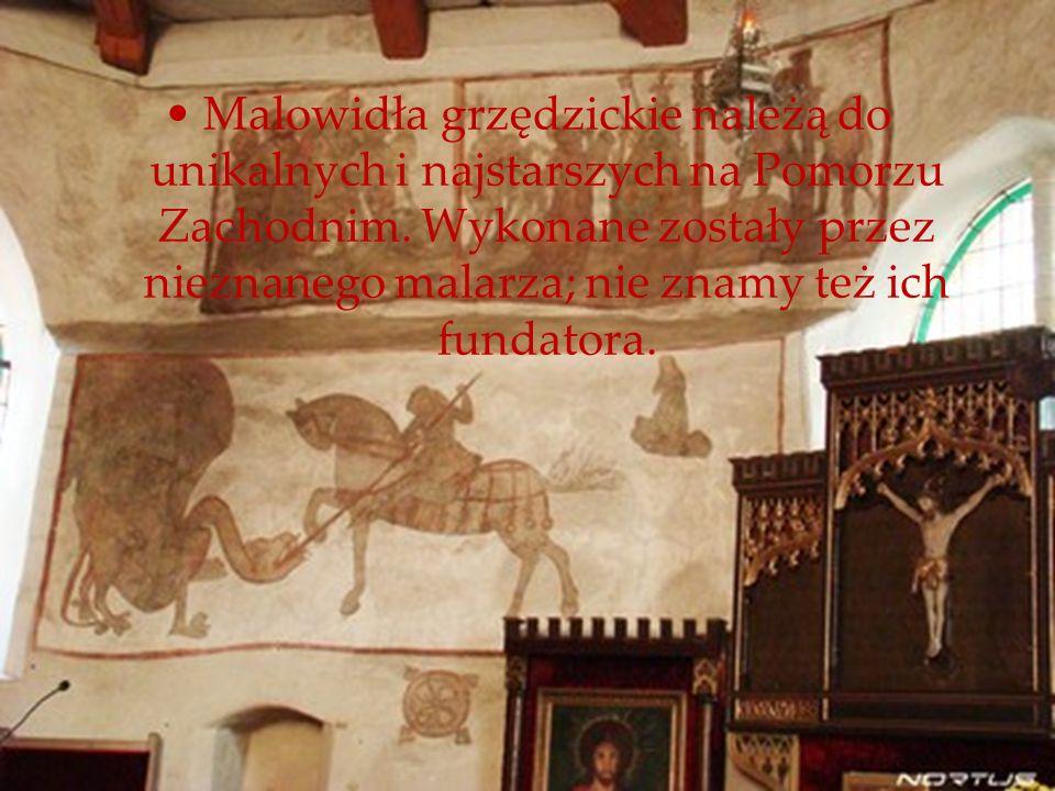 Malowidła grzędzickie należą do unikalnych i najstarszych na Pomorzu Zachodnim. Wykonane zostały przez nieznanego malarza; nie znamy też ich fundatora