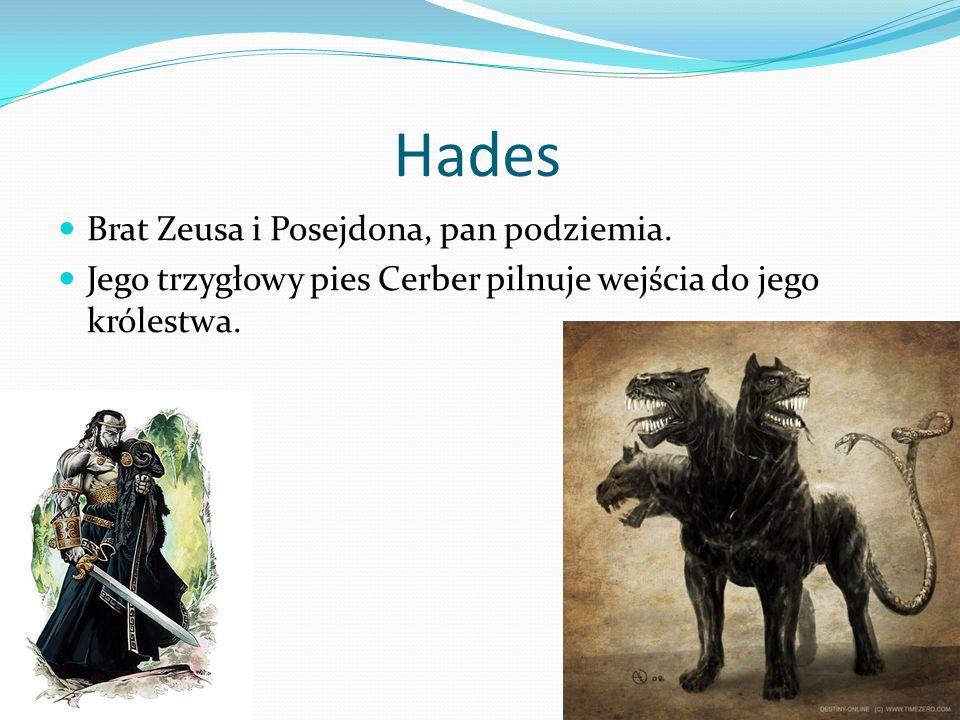 Hades Brat Zeusa i Posejdona, pan podziemia. Jego trzygłowy pies Cerber pilnuje wejścia do jego królestwa.