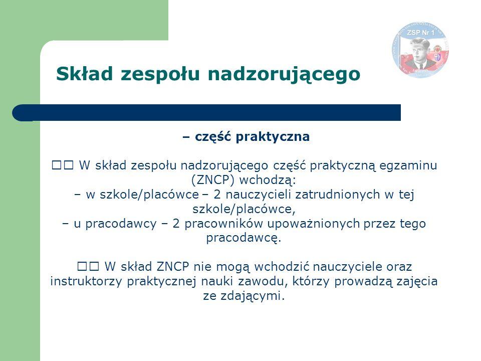 – część praktyczna W skład zespołu nadzorującego część praktyczną egzaminu (ZNCP) wchodzą: – w szkole/placówce – 2 nauczycieli zatrudnionych w tej szk