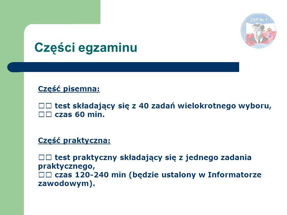 Części egzaminu Część pisemna: test składający się z 40 zadań wielokrotnego wyboru, czas 60 min.