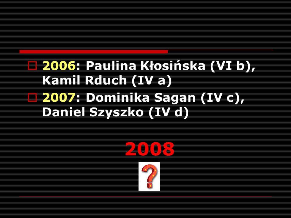 2006: Paulina Kłosińska (VI b), Kamil Rduch (IV a) 2007: Dominika Sagan (IV c), Daniel Szyszko (IV d) 2008