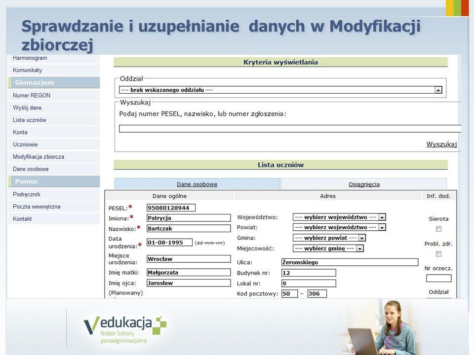 Sprawdzanie i uzupełnianie danych w Modyfikacji zbiorczej