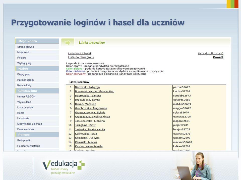 Przygotowanie loginów i haseł dla uczniów