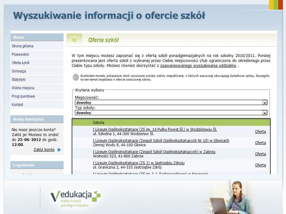 Wyszukiwanie informacji o ofercie szkół
