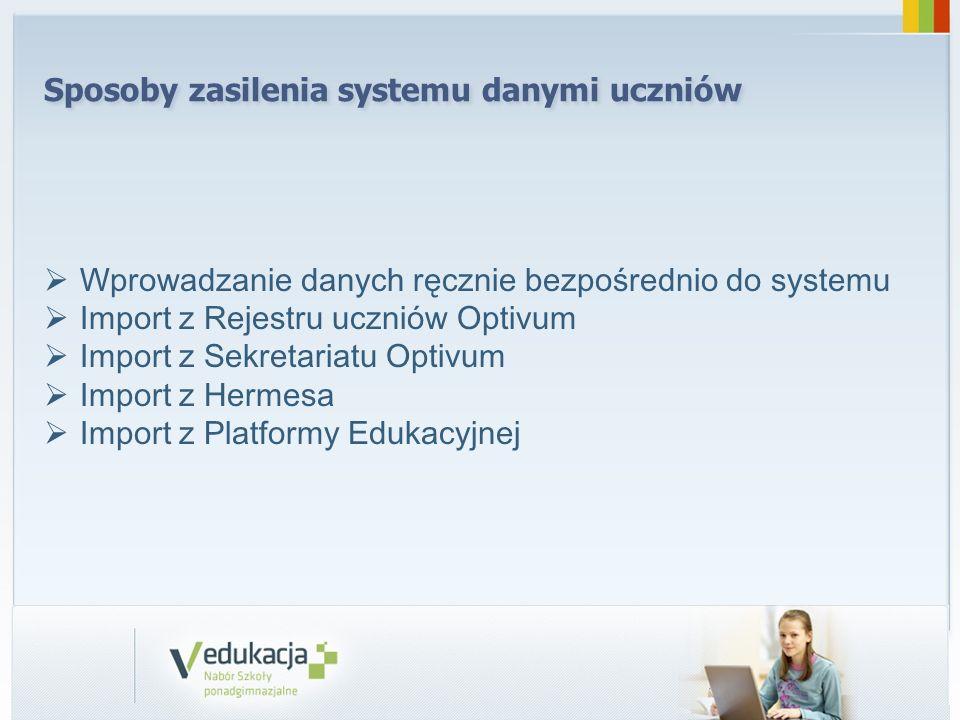 Sposoby zasilenia systemu danymi uczniów Wprowadzanie danych ręcznie bezpośrednio do systemu Import z Rejestru uczniów Optivum Import z Sekretariatu O
