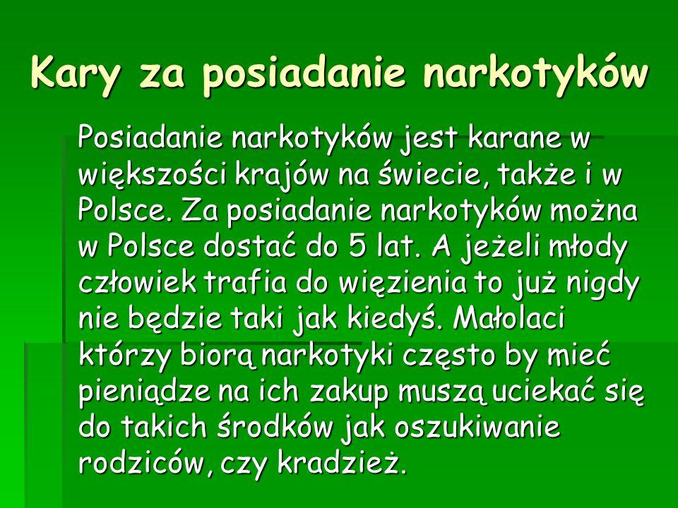 Kary za posiadanie narkotyków Posiadanie narkotyków jest karane w większości krajów na świecie, także i w Polsce. Za posiadanie narkotyków można w Pol