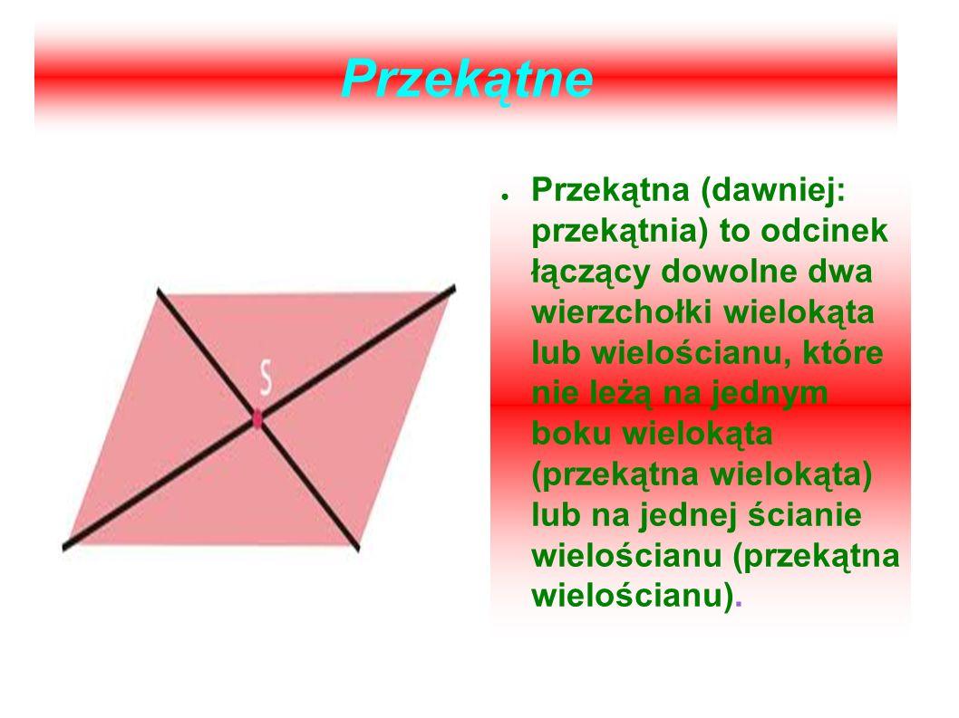 Przekątne Przekątna (dawniej: przekątnia) to odcinek łączący dowolne dwa wierzchołki wielokąta lub wielościanu, które nie leżą na jednym boku wielokąt