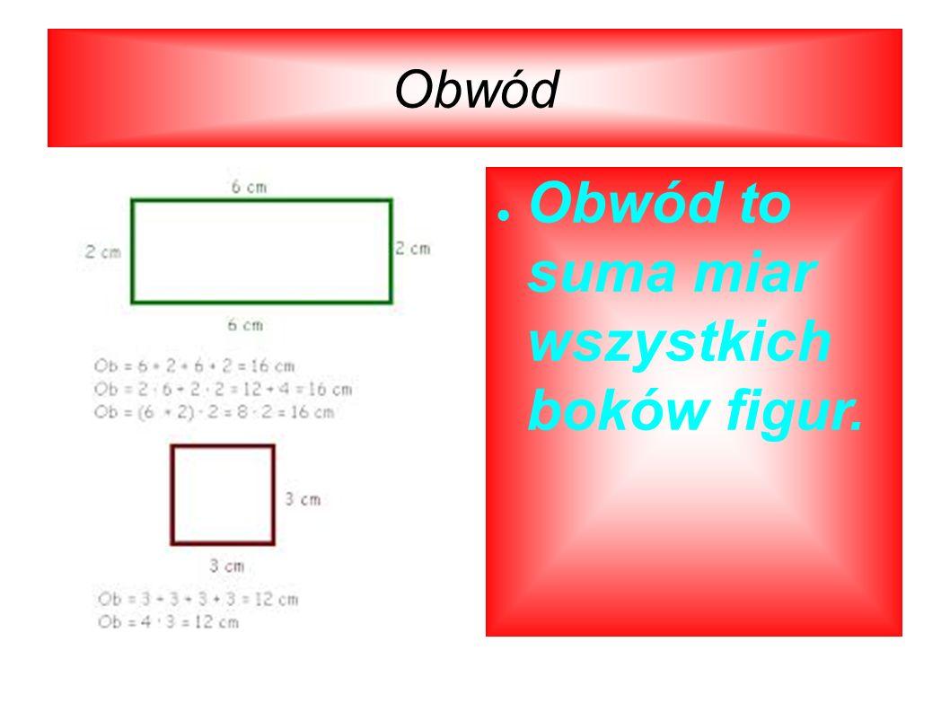 Obwód Obwód to suma miar wszystkich boków figur.