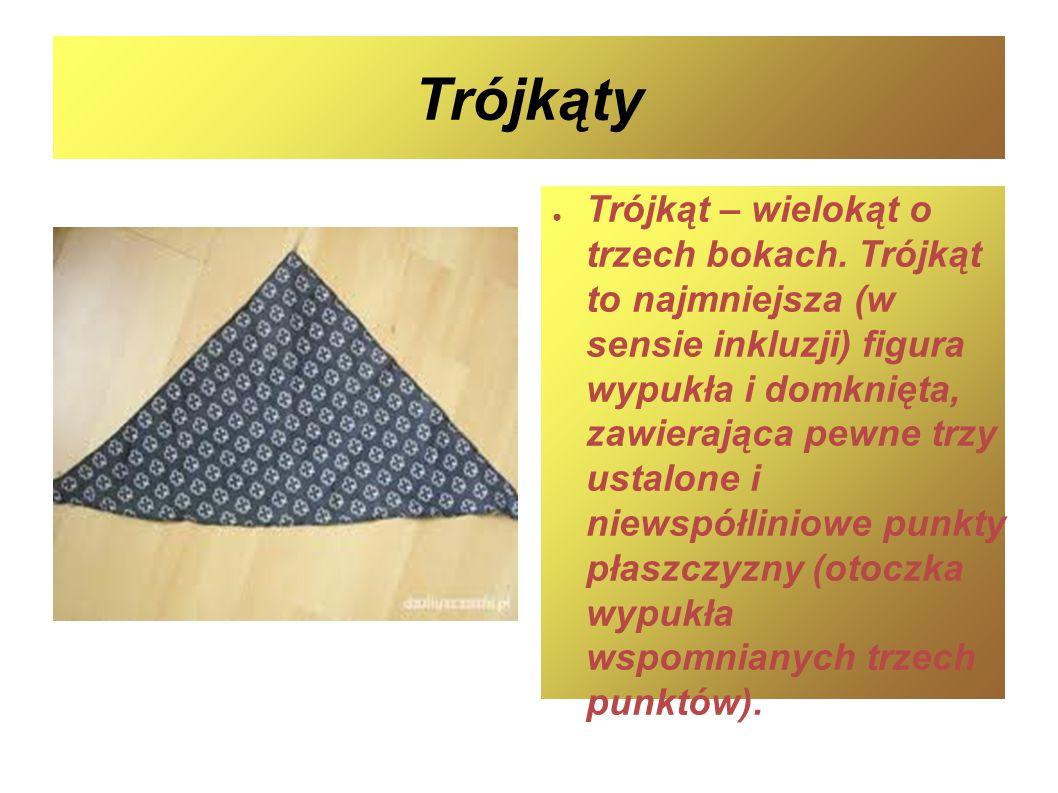 Trójkąty Trójkąt – wielokąt o trzech bokach. Trójkąt to najmniejsza (w sensie inkluzji) figura wypukła i domknięta, zawierająca pewne trzy ustalone i