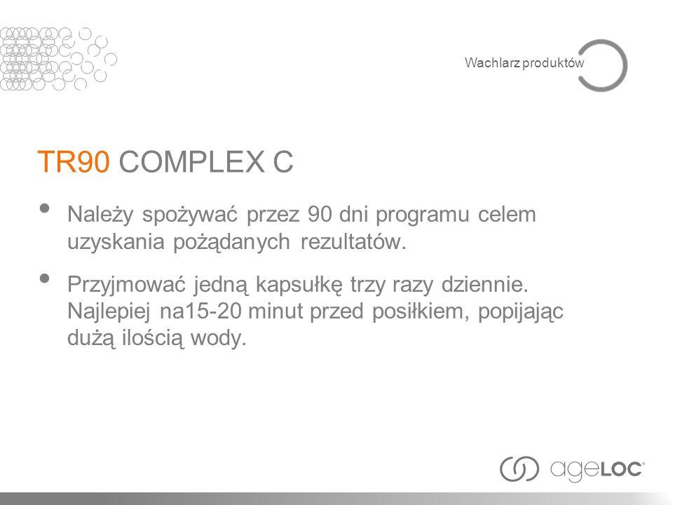 TR90 COMPLEX C Należy spożywać przez 90 dni programu celem uzyskania pożądanych rezultatów. Przyjmować jedną kapsułkę trzy razy dziennie. Najlepiej na