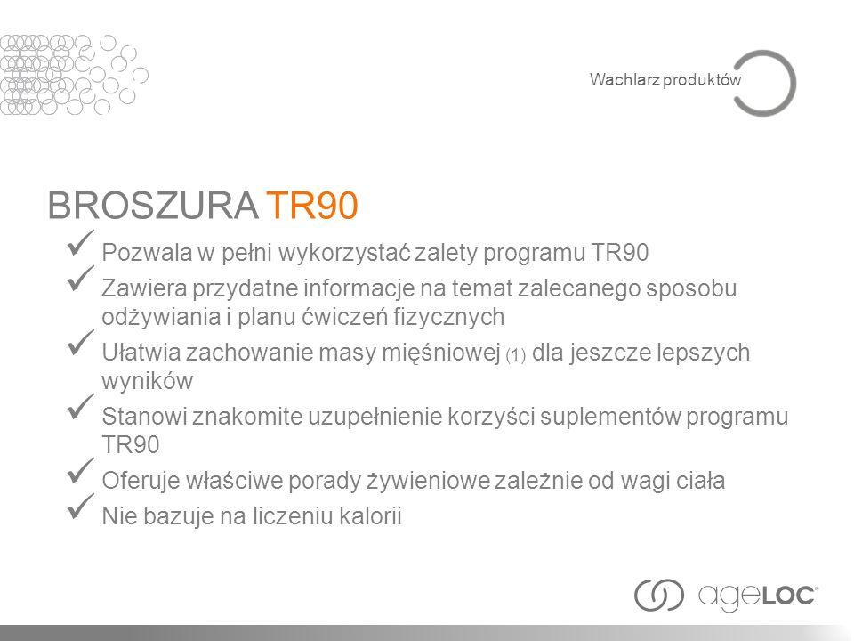 Pozwala w pełni wykorzystać zalety programu TR90 Zawiera przydatne informacje na temat zalecanego sposobu odżywiania i planu ćwiczeń fizycznych Ułatwi