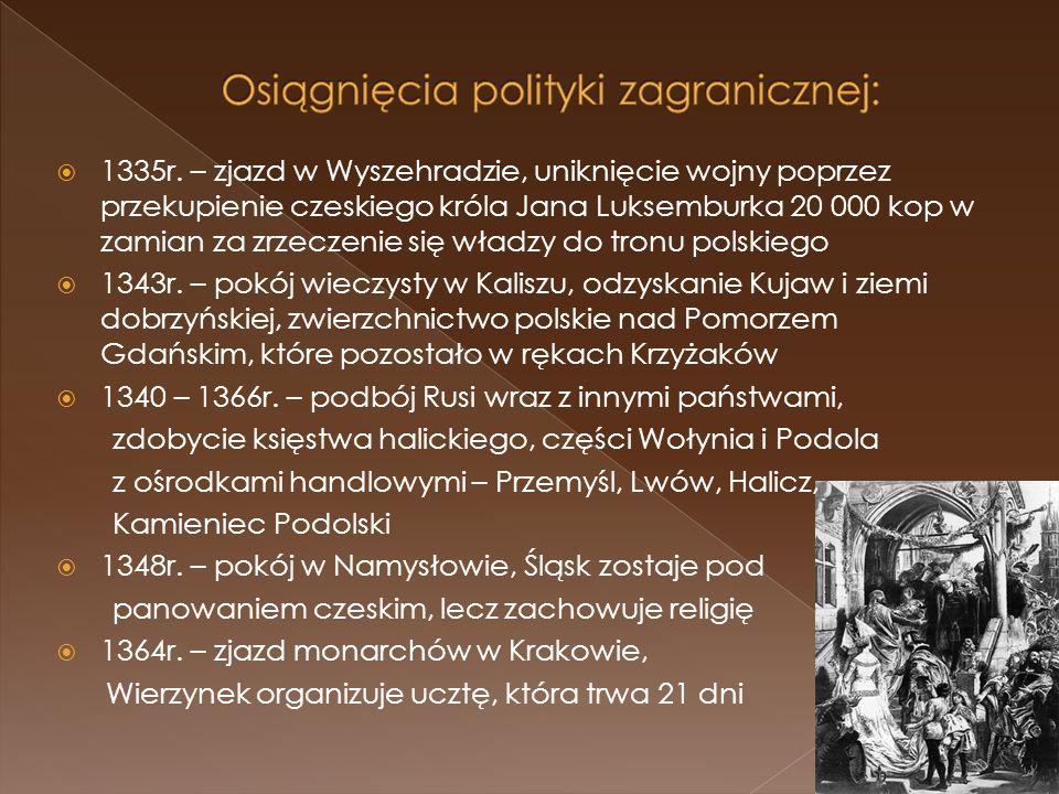 1335r. – zjazd w Wyszehradzie, uniknięcie wojny poprzez przekupienie czeskiego króla Jana Luksemburka 20 000 kop w zamian za zrzeczenie się władzy do