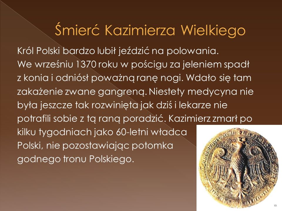 Król Polski bardzo lubił jeździć na polowania. We wrześniu 1370 roku w pościgu za jeleniem spadł z konia i odniósł poważną ranę nogi. Wdało się tam za