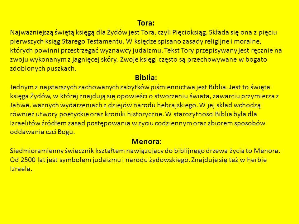 Tora: Najważniejszą świętą księgą dla Żydów jest Tora, czyli Pięcioksiąg.