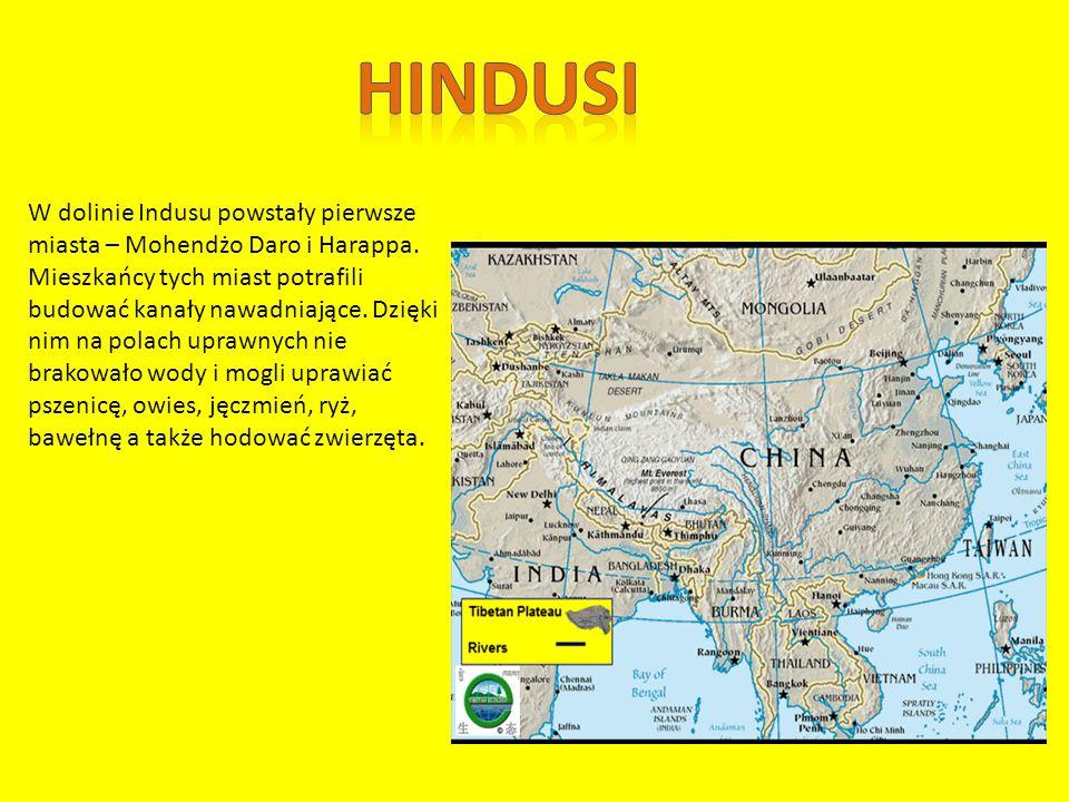 W dolinie Indusu powstały pierwsze miasta – Mohendżo Daro i Harappa.
