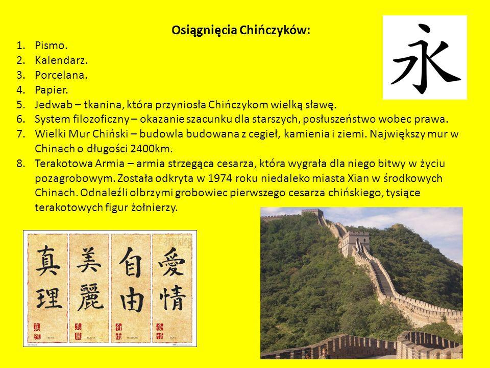 Osiągnięcia Chińczyków: 1.Pismo.2.Kalendarz. 3.Porcelana.