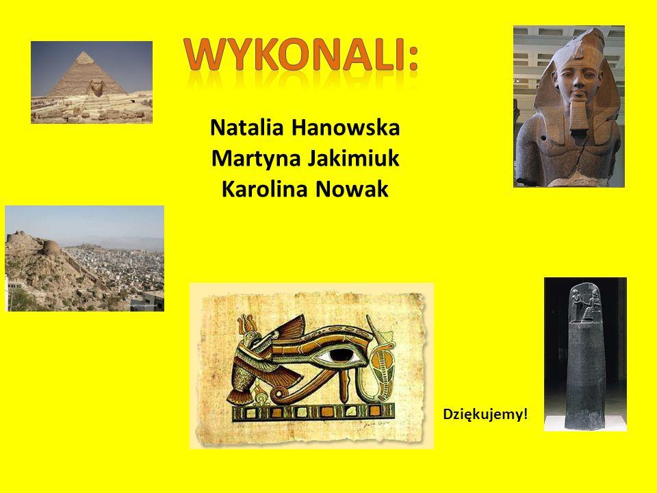 Natalia Hanowska Martyna Jakimiuk Karolina Nowak Dziękujemy!