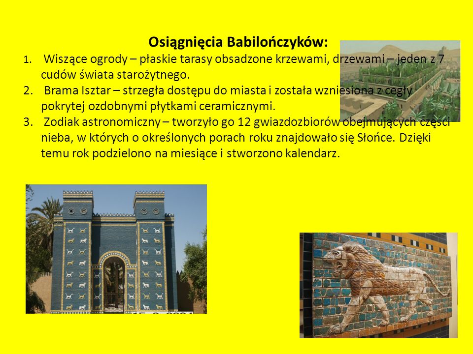 Osiągnięcia Babilończyków: 1.