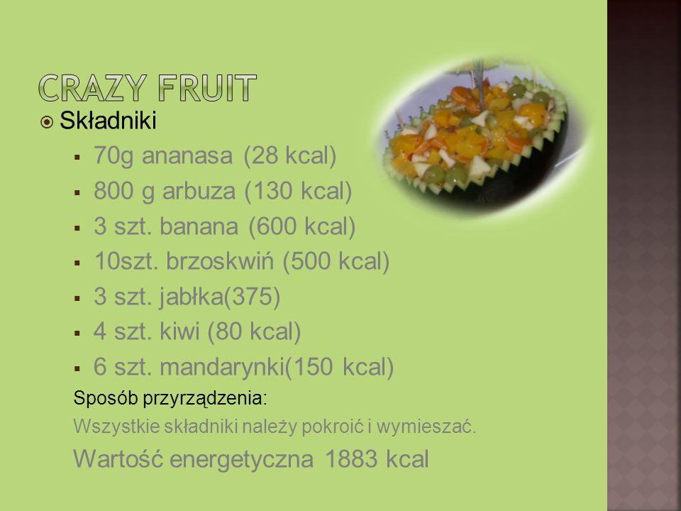 Składniki 70g ananasa (28 kcal) 800 g arbuza (130 kcal) 3 szt. banana (600 kcal) 10szt. brzoskwiń (500 kcal) 3 szt. jabłka(375) 4 szt. kiwi (80 kcal)