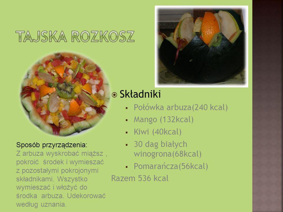 Składniki Połówka arbuza(240 kcal) Mango (132kcal) Kiwi (40kcal) 30 dag białych winogrona(68kcal) Pomarańcza(56kcal) Razem 536 kcal Sposób przyrządzenia: Z arbuza wyskrobać miąższ, pokroić środek i wymieszać z pozostałymi pokrojonymi składnikami.
