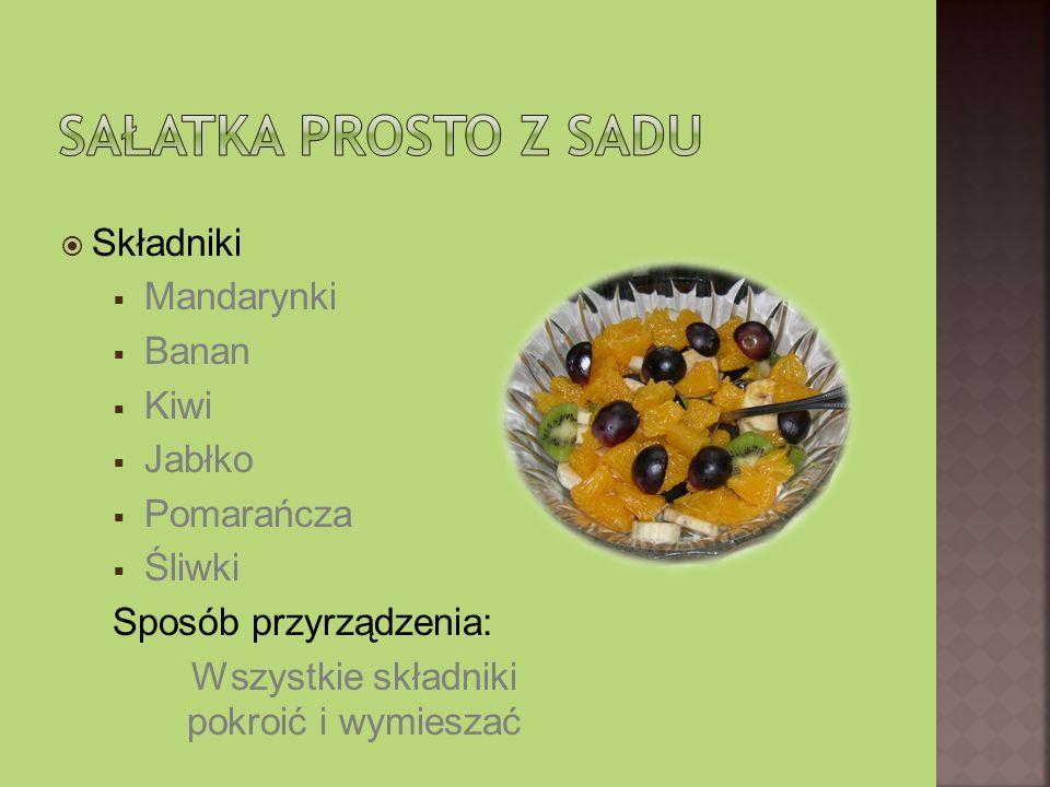 Składniki Mandarynki Banan Kiwi Jabłko Pomarańcza Śliwki Sposób przyrządzenia: Wszystkie składniki pokroić i wymieszać