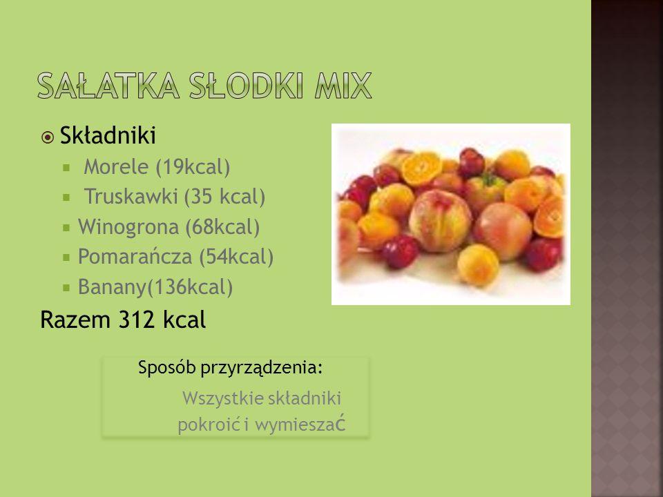 Składniki Morele (19kcal) Truskawki (35 kcal) Winogrona (68kcal) Pomarańcza (54kcal) Banany(136kcal) Razem 312 kcal Sposób przyrządzenia: Wszystkie sk