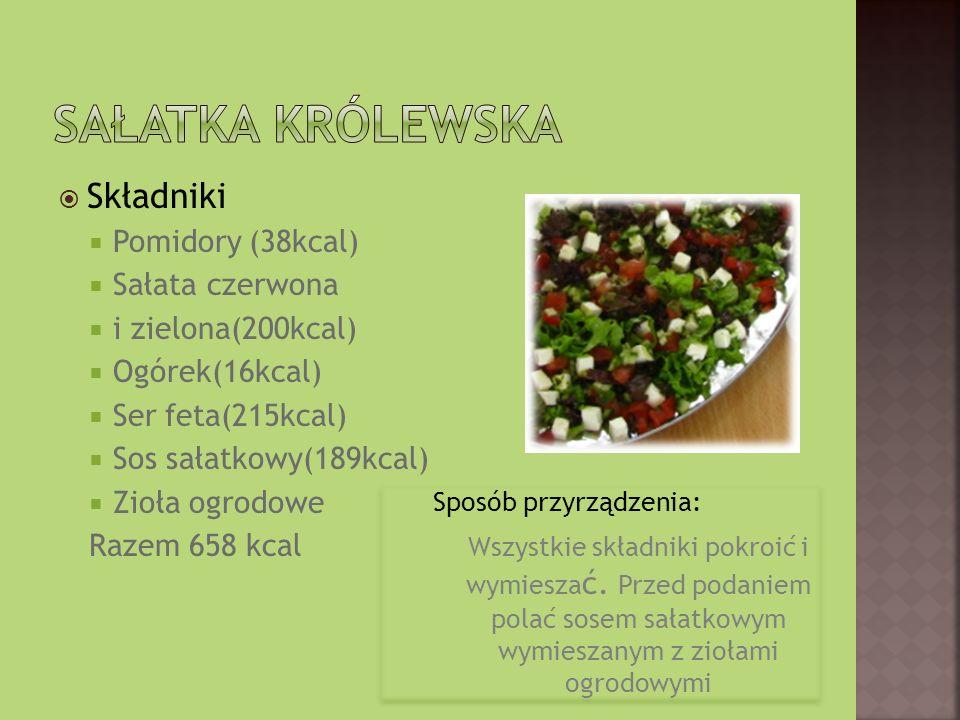 Składniki Pomidory (38kcal) Sałata czerwona i zielona(200kcal) Ogórek(16kcal) Ser feta(215kcal) Sos sałatkowy(189kcal) Zioła ogrodowe Razem 658 kcal Sposób przyrządzenia: Wszystkie składniki pokroić i wymiesza ć.