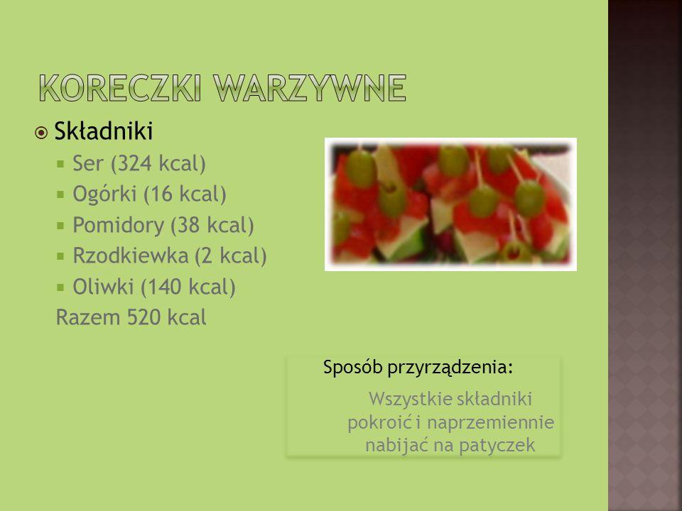 Składniki Ser (324 kcal) Ogórki (16 kcal) Pomidory (38 kcal) Rzodkiewka (2 kcal) Oliwki (140 kcal) Razem 520 kcal Sposób przyrządzenia: Wszystkie składniki pokroić i naprzemiennie nabijać na patyczek Sposób przyrządzenia: Wszystkie składniki pokroić i naprzemiennie nabijać na patyczek