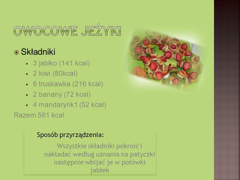 Składniki 3 jabłko (141 kcal) 2 kiwi (80kcal) 6 truskawka (216 kcal) 2 banany (72 kcal) 4 mandarynk1 (52 kcal) Razem 561 kcal Sposób przyrządzenia: Wszystkie składniki pokroić i nakładać według uznania na patyczki następnie wbijać je w połówki jabłek Sposób przyrządzenia: Wszystkie składniki pokroić i nakładać według uznania na patyczki następnie wbijać je w połówki jabłek
