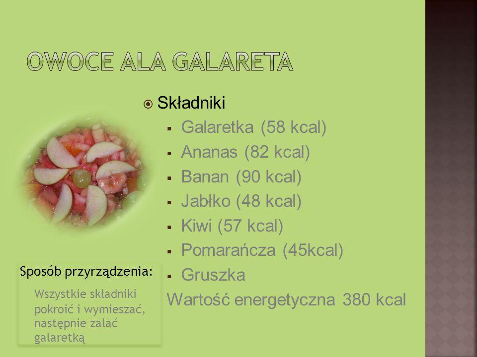 Sposób przyrządzenia: Wszystkie składniki pokroić i wymieszać, następnie zalać galaretką Sposób przyrządzenia: Wszystkie składniki pokroić i wymieszać, następnie zalać galaretką Składniki Galaretka (58 kcal) Ananas (82 kcal) Banan (90 kcal) Jabłko (48 kcal) Kiwi (57 kcal) Pomarańcza (45kcal) Gruszka Wartość energetyczna 380 kcal